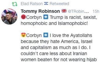 Amos's tweet showing Elad's alleged retweet of Tommy Robinson