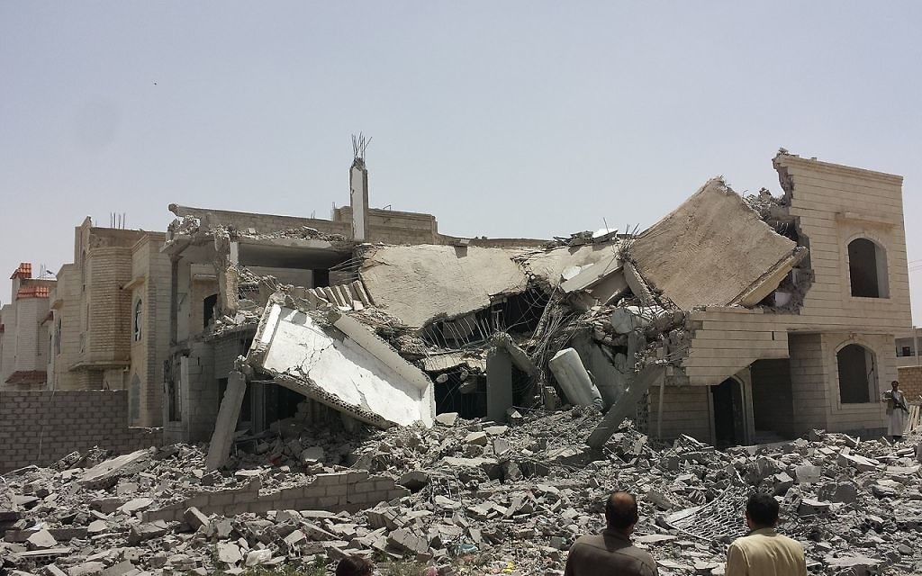Destroyed house in the south of Sanaa, 13 June 2015