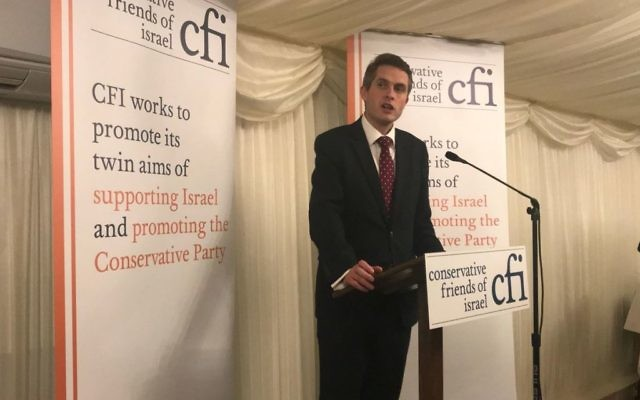 Gavin Williamson speaking at the CFI event