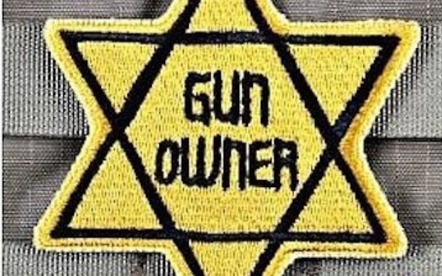Screenshot from Tacticalshit.com, showing the website of a gun parts business which offered a patch meant to suggest that gun owners, like Jews during the Holocaust, were being persecuted by the government.)