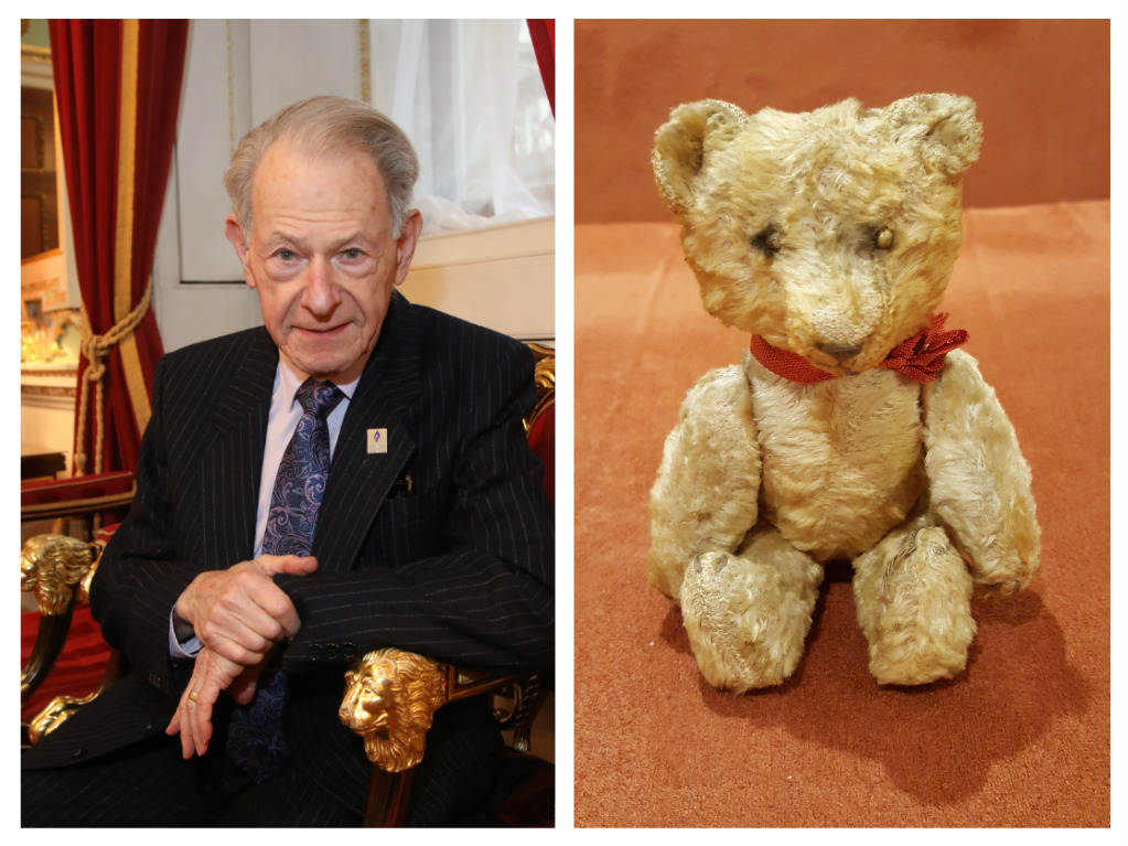John Hajdu and the bear that he took with him when he escaped from Hungary