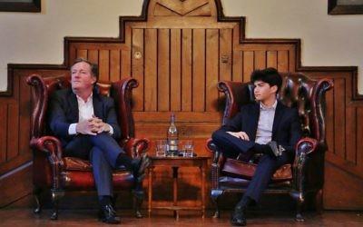 Jonah Surkes (right) with Piers Morgan