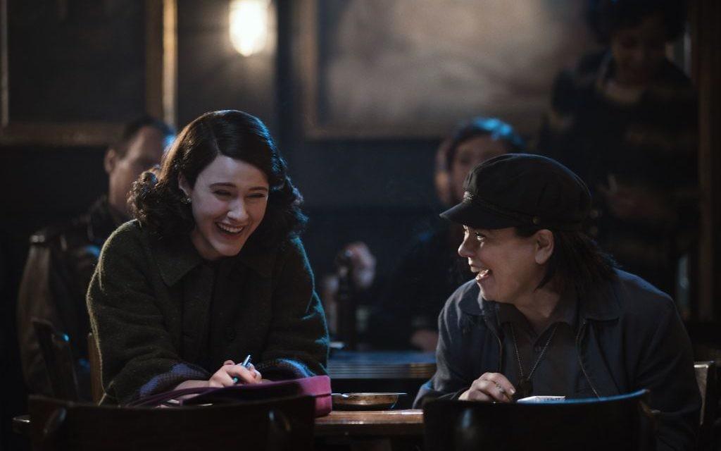 Rachel Brosnahan who plays Midge Maisel (left) and Alex Borstein as Suzie Myerson (right) star in the award-winning Amazon series, The Marvelous Mrs Maisel