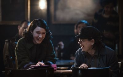 Rachel Brosnahan who plays Midge Maisel (left) and Alex Borstein as Suzie Myerson (right) star in the award-winning Amazon series, The Marvelous Mrs Maisel