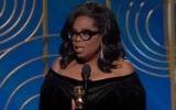 Oprah Winfrey giving her speech at the Golden Globes