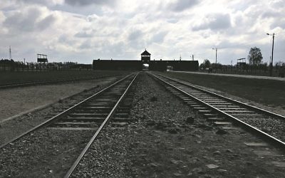The railway tracks at Auschwitz-Birkenau