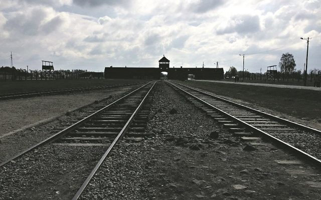 The railway tracks at Auschwitz-Birkenau, located in modern day Poland.