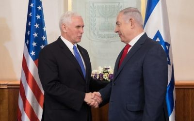 VP Mike Pence (left) is greeted by Israeli Prime Minister Benjamin Netanyahu  in January 2018