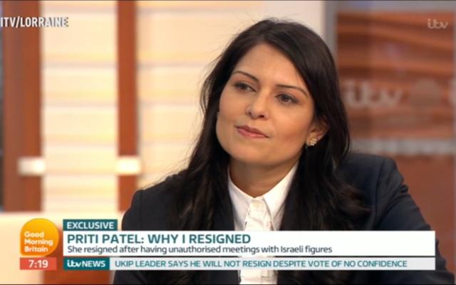 Priti Patel speaking on ITV's Good Morning Britain