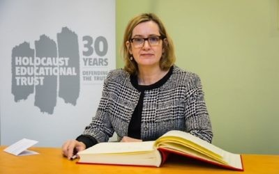 Rt Hon Amber Rudd MP signing HET Book of Commitment