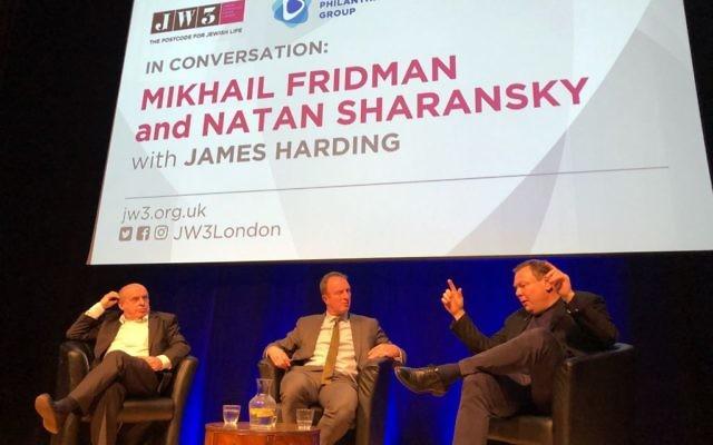 Natan Sharansky (left), James Harding (centre) and Mikhail Fridman (right) speaking at JW3