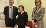 Environment Secretary Michael Gove, survivor Hannah Lewis and Home Secretary Amber Rudd at a joint Home Office-DEFRA event for Holocaust Memorial Day 2018
