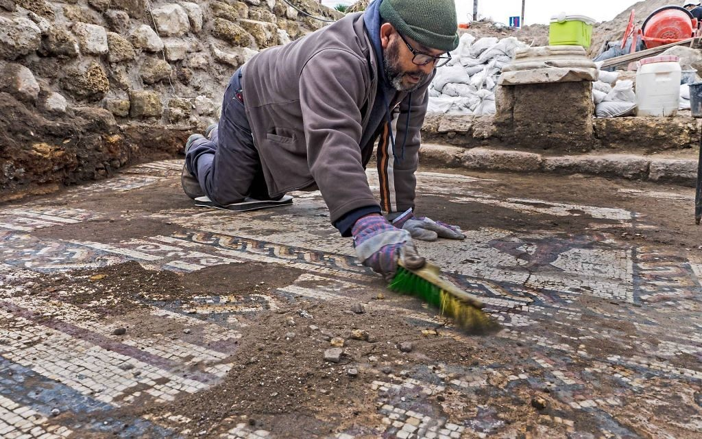 The mosaic uncovered in Caesarea and conservation work by the Israel Antiquities Authority.   Photo: Assaf Peretz, Israel Antiquities Authority