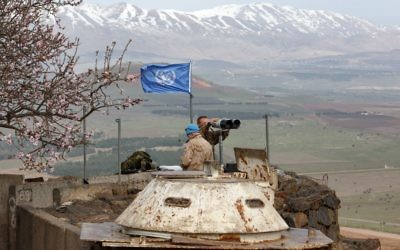 Members of the United Nations Disengagement Observer Force (UNDOF) looks through binoculars at an observation post in the Golan Heights Photo by: JINIPIX