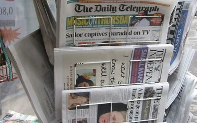 Newspaper stand with international papers