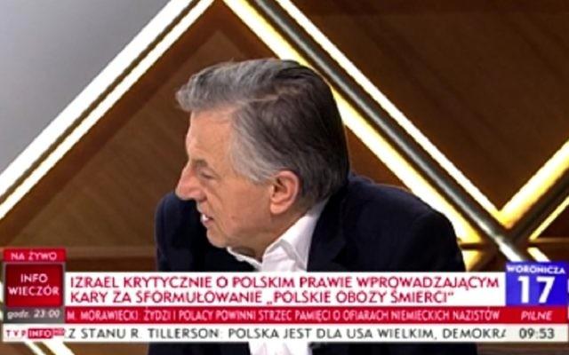 Professor Andrzej Zybertowicz speaking on Polish television