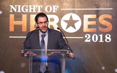Justin Cohen speaking during the Night of Heroes   Credit: Blake Ezra