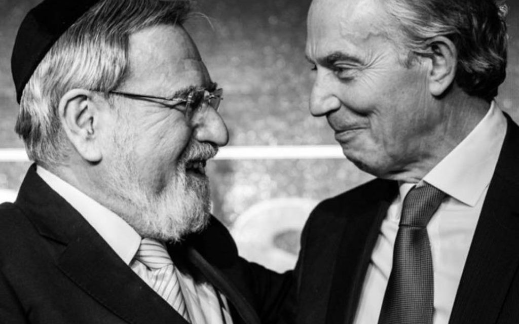 Former Chief Rabbi Lord Sacks and ex-Prime Minister Tony Blair   Credit: Blake Ezra