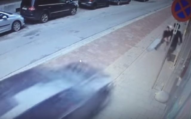 CCTV footage caught the car swerve towards the father and son