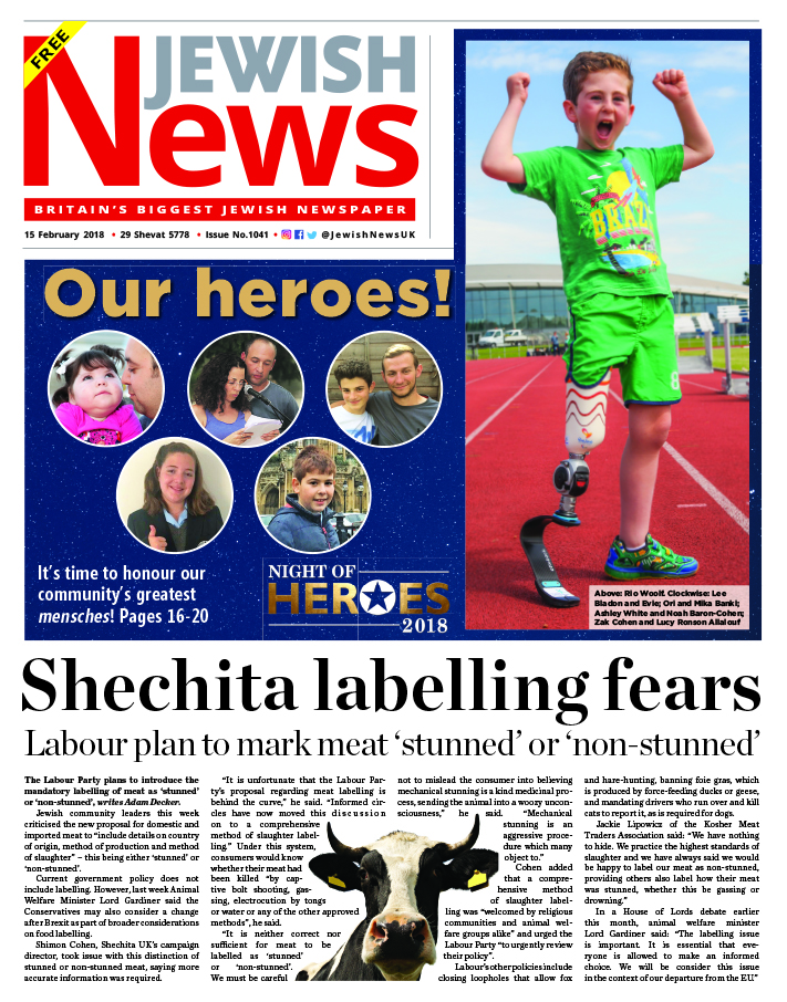 This week's Jewish News front page on shechita labelling fears