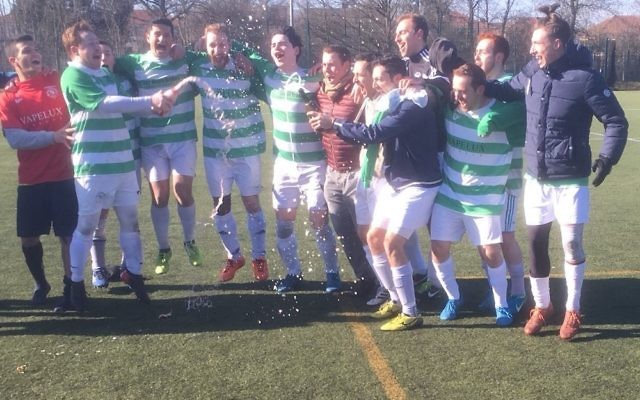 Faithfold A celebrate winning the Division One title