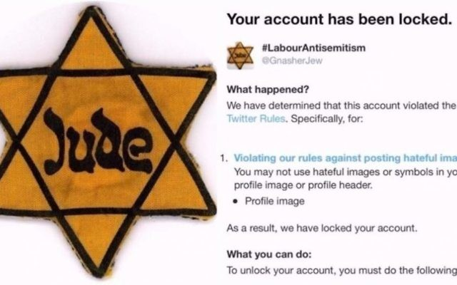 Message posted on line by Campaign Against Antisemitism, revealing that  GnasherJew had been locked out from the social media site