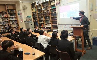 Emanuel Miller addressing Hasmonean pupils