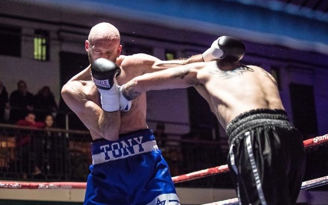 Milch, wearing his trademark Star of David shorts, lands a punch on Danny Little