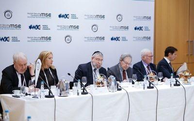 Left to right at the conference: Sergey Kislyak , Mrs. Tzipi Livni, Chief Rabbi Pinchas Goldschmidt, Mr. Steven Erlanger, Mr. Amos Gilead, and Mr. Ronen Bergman