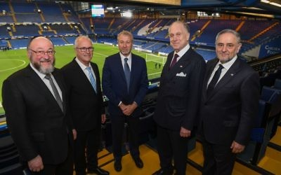 Chelsea launched their campaign to tackle anti-Semitism last Wednesday at Stamford Bridge. Pictured l-r: Chief UK Rabbi Mirvis, Gad Ariely Chair, WJC Israel, Chelsea FC owner Roman Abramovich, WJC President Ronald Lauder, WJC CEO Robert Singer   Credit: Shahar Azran