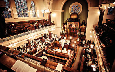 A barmitzvah at Lauderdale Road Synagogue, Maida Vale, London.  Credit: Blake Ezra
