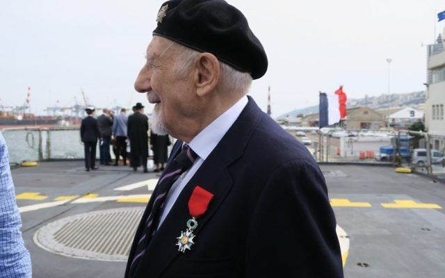 Walter Bingham with his Legion of Honor award on his lapel, on board the ship in Haifa harbour   Photo credit: Embassy of France to Israel / Elodie Sauvage