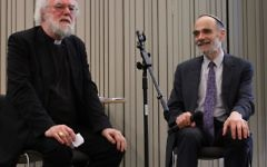Former Archbishop of Canterbury Dr Rowan Williams in conversation with Senior Masorti Rabbi Dr Jonathan Wittenberg at the launch of the Eco Synagogue