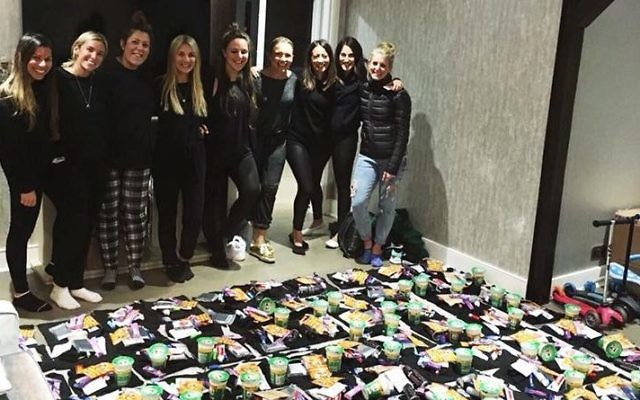 Group of Jewish friends with care packs for the homeless this winter