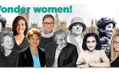 L-R: Rosalind Franklin, Betty Friedan, Sheryl Sandberg, Deborah Lipstadt, Ruth Bader, Ginsburg, Golda Meir, Helena Rubenstein, Anne Frank, Dorothy Levitt, Barbra Streisand