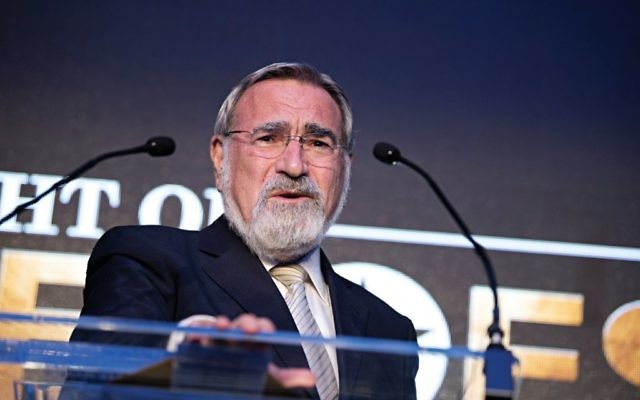 Lord Sacks speaking at Jewish News' Night of Heroes event in February 2018  Credit: Blake Ezra Photography