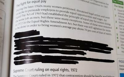 Photo issued by Humanists UK of a section on Roe v Wade, the US Supreme Court decision that made abortion a legal right is covered completely in a textbook, Understanding the Modern World, which has been redacted by Yesodey Hatorah Senior Girls' School.    Photo credit: Humanists UK/PA Wire