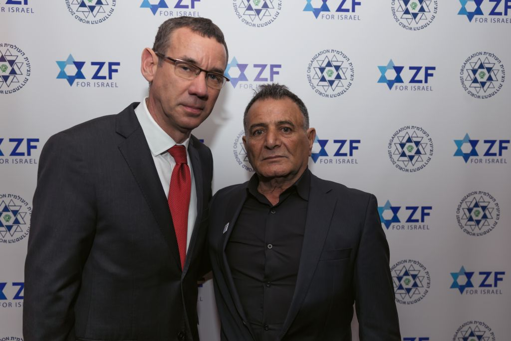 Ambassador Mark Regev with the father of killed Druze soldier Haiel Sitawe at the ZF dinner