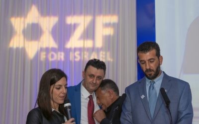 Father of Druze policeman breaks into tears during the ZF fundraiser   Credit: Steve Winston