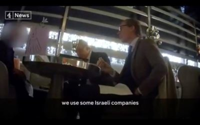 Screenshot from Channel 4's expose of Cambridge Analytica, where boss Alexander Nix speaks about using Israeli firms