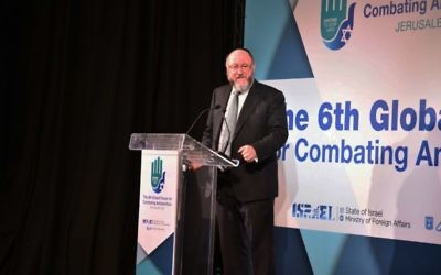 Chief Rabbi Ephraim Mirvis speaking at the 6th Global Forum for Combating Antisemitism