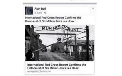 Alan Bull posting Holocaust denial literature on Facebook