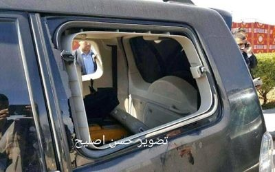 Interior of the car hit by the explosion in Gaza.   Credit: @mahmoud_221222 on Twitter