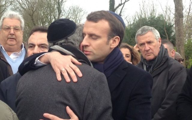 French President Emmanuel Macron at the funeral for murdered Holocaust survivor Mirelle Knoll, March 28, 2018. (Abraham Ben Isaac on Twitter, )
