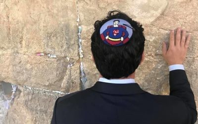Dean Cain sporting  a Superman kippa at the kotel   Credit: Jonny Daniels, From the Depths