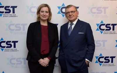 L-R at the CST annual dinner: Home Secretary Amber Rudd and Gerald Ronson, chair of the CST