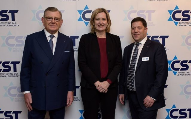 L-R at CST's annual dinner in 2018: Gerald Ronson, and former Home Secretary Amber Rudd, with CST Chief Executive David Delew