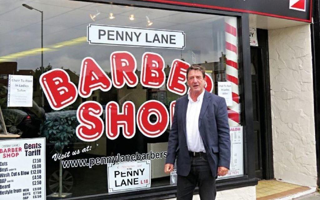 Leslie Cavendish outside a barbershop in Penny Lane