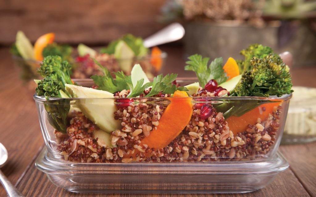 Mixed grain and butternutsquash salad with avocado tahini dressing