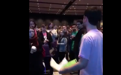 Gabe Milne takes to the NUS floor to make his speech on anti-Semitism